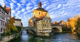 Mooie plaatsen van Duitsland Bamberg in Beieren royalty-vrije stock foto