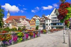Mooie plaatsen van Duitsland - het kleurrijke bloemengebied van stadstübingen Baden -baden-wurttemberg stock fotografie