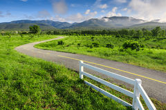 Mooie plattelandsweg op groen gebied onder blauwe hemel Royalty-vrije Stock Afbeeldingen