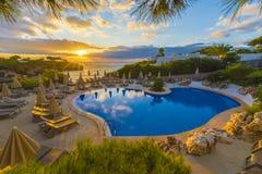 Mooie pool in Cala Dor in zonsondergangtijd, Palma Mallorca-eiland, Spanje stock fotografie