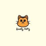 Mooie Pot, Leuke Cat Logo Vector Design Illustration Stock Afbeelding