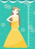 Mooie prinses met metermuur of hoogtemeter van 50 tot 180 centimeter, Vectorillustraties Stock Afbeeldingen