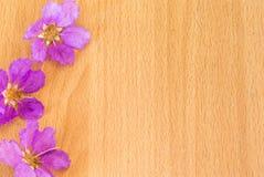 Mooie purpere bloemen die op de houten achtergrond bloeien Royalty-vrije Stock Afbeeldingen