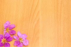 Mooie purpere bloemen die op de houten achtergrond bloeien Stock Foto