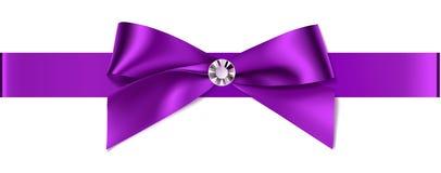 Mooie purpere boog met diamant voor van het uitnodigingsontwerp of huwelijk decoratie Stock Foto's