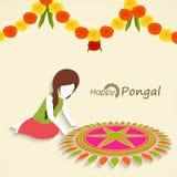Mooie rangolidecoratie voor Zuiden Indisch festival, Gelukkige Pongal vector illustratie