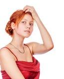 mooie redhead dame royalty-vrije stock foto