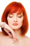 Mooie redhead vrouw stock afbeeldingen