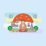 Mooie reeks van banner op het thema Azië, Europa, Amerika, de zomerreis, avontuur, vakantie Modern vlak ontwerp Royalty-vrije Stock Foto's