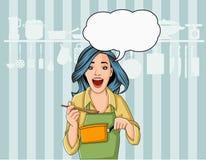 Mooie retro chef-kokvrouw die heerlijke maaltijd in restaurantkeuken koken Gastronomisch voedsel royalty-vrije illustratie