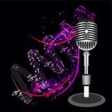 Mooie Retro Zwarte VectorMicrofoon Royalty-vrije Stock Foto