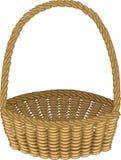 Mooie rieten mand handmade Voor het winkelen, vervoer van producten voor een picknick Geschikt om paddestoelen, bessen te verzame royalty-vrije illustratie
