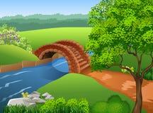 Mooie rivier op aardachtergrond stock illustratie