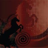Mooie rode achtergrond met paard en werveling Stock Fotografie