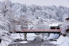 Mooie rode brug Stock Afbeelding