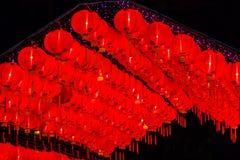 Mooie rode Chinese lantaarn op de nacht tijdens nieuwe jaarfesti stock fotografie