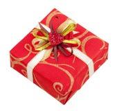 Mooie rode doos met band en hart royalty-vrije stock afbeelding