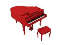 Mooie rode grote piano die op wit wordt geïsoleerd. Royalty-vrije Stock Afbeeldingen