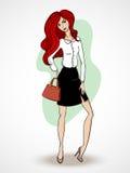 Mooie rode haarvrouw Stock Foto