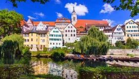 Mooie romanric middeleeuwse stad Tübingen, Duitsland Stock Foto's