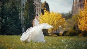 Mooie romantische donkerbruine bruid die in de zomerweide lopen Royalty-vrije Stock Foto's