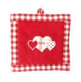 Mooie rood van de pannelap en wit met harten Stock Foto's