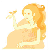 Mooie roodharigemeisje en vogel Royalty-vrije Stock Afbeelding