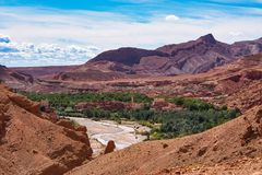Mooie Rose Valley - Vallee des Roses, dichtbij Ouarzazate, Marokko royalty-vrije stock fotografie