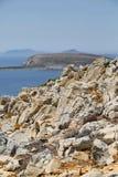 Mooie rotsachtige kust in Levitha Royalty-vrije Stock Foto