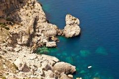 Mooie rotsachtige kust in Mallorca Royalty-vrije Stock Foto's