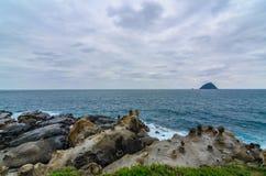Mooie rotsvorming in Vredeseiland, Taiwan (dichte omhooggaand) Stock Afbeelding