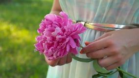 Mooie roze bloem op hand met groene tuinachtergrond stock video