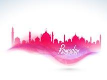 Mooie roze Moskee voor de heilige viering van maandramadan kareem vector illustratie