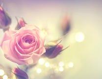 Mooie Roze nam toe Wijnoogst gestileerde kaart Stock Afbeeldingen