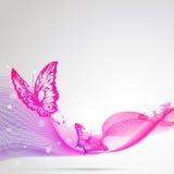 Mooie roze vlinders, op een grrey Royalty-vrije Stock Afbeeldingen