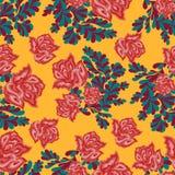 Mooie rozen op een licht naadloos patroon als achtergrond Stock Fotografie