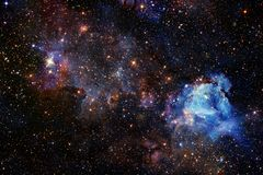 Mooie ruimteachtergrond Cosmocart. Elementen van dit die beeld door NASA wordt geleverd stock foto's