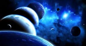 Mooie ruimtescène met parade van planeten en nevel stock illustratie