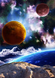 Mooie ruimtescène met planeten en nevel Stock Foto