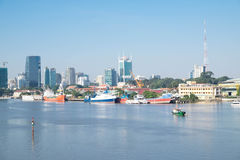 Mooie SaiGon-cityscape in de ochtend Royalty-vrije Stock Afbeeldingen