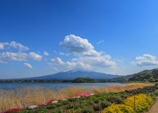 Mooie scène met grote bergachtergrond Royalty-vrije Stock Foto