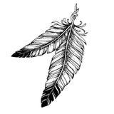 Mooie schets van een tatoegering - veren, bohostijl Stock Foto's