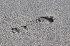 Mooie schoten van de witte stranden op het het paradijseiland van Seychellen met voetafdrukken en watergolven royalty-vrije stock foto's