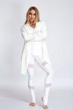 Mooie sexy de lichaamsbouw slanke atletisch van de blonde jonge vrouw Stock Fotografie