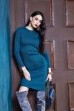 Mooie sexy jonge luxe elegante slijtage van het vrouwen de donkerbruine haar Royalty-vrije Stock Foto