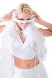 Mooie Sexy Jonge Vrouw als speelmuziek van DJ op (bestelwagen) mixer Stock Afbeelding