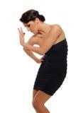 Mooie sexy vrouw in het korte kleding dansen Stock Foto