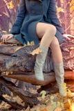 Mooie slanke Benen in het de herfstbos royalty-vrije stock foto