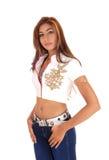 Mooie slanke dame in jeans Royalty-vrije Stock Afbeelding