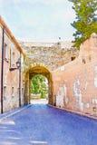Mooie smalle steeg in de oude stad van Spanje, waterverfpijn vector illustratie